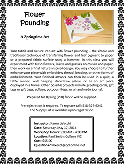 Quilt Workshop Flyer: Flower Pounding: A Springtime Art