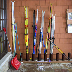 Skis by the VIC Building door