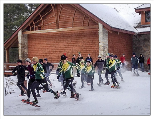 Snowshoe Racing at the Paul Smith's College VIC.  Photo by B. McAllister.  Used by permission.
